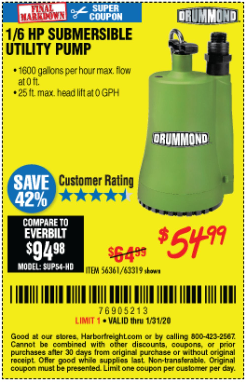 Harbor Freight Coupon, HF Coupons - 1/6 Hp Submersible Utility Pump