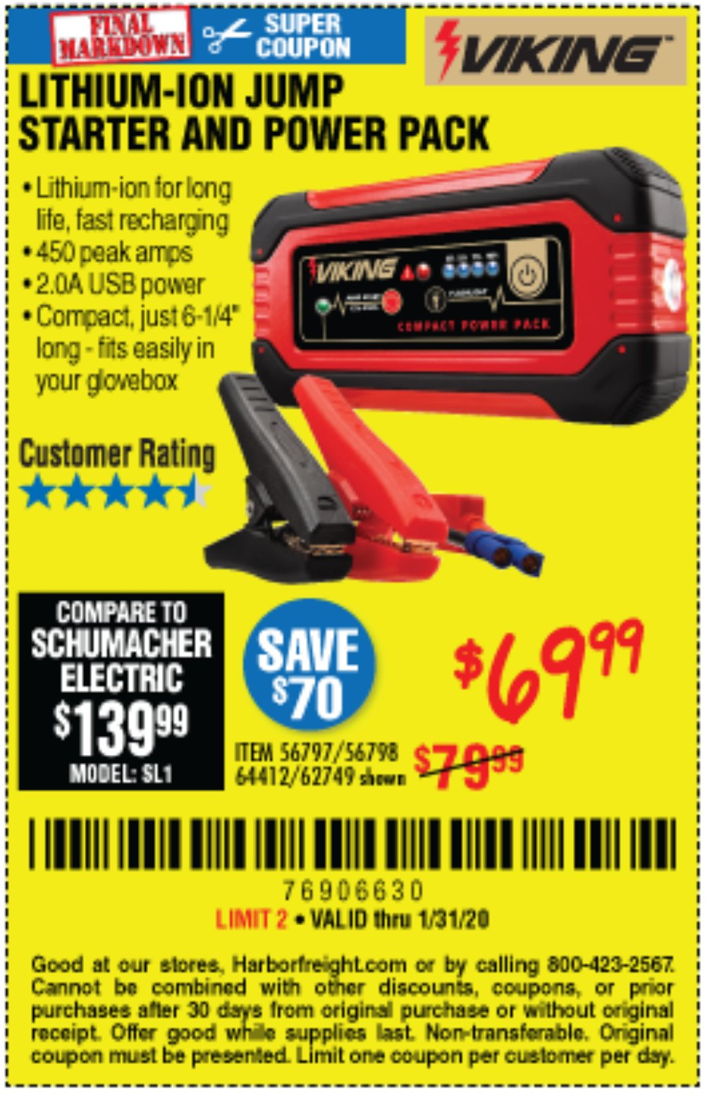 Harbor Freight Coupon, HF Coupons - Lithium Ion Jump Starter And Power Pack