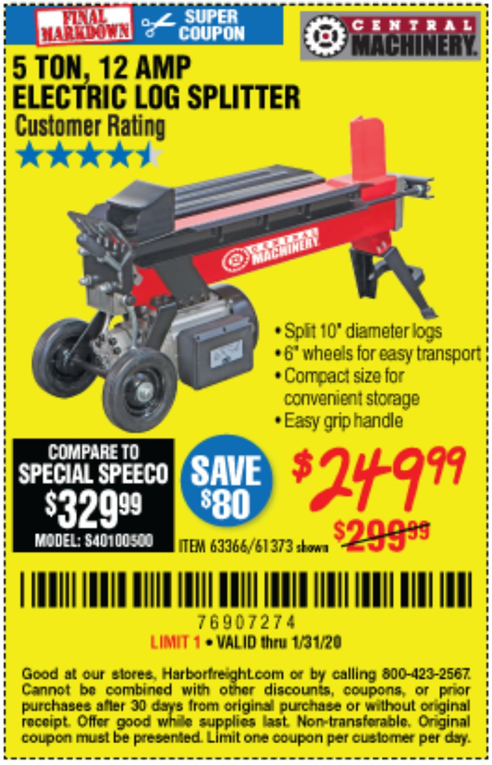 Harbor Freight Coupon, HF Coupons - 5 Ton Electric Log Splitter