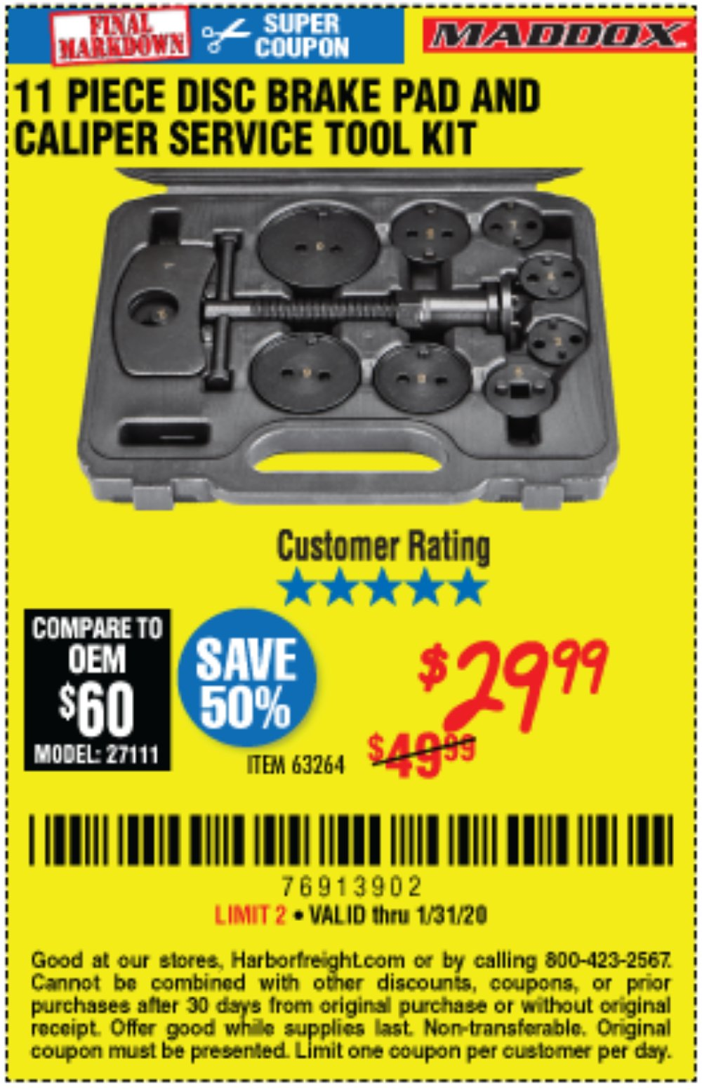 Harbor Freight Coupon, HF Coupons - 11 Piece Disc Brake Pad And Caliper Service Tool Kit
