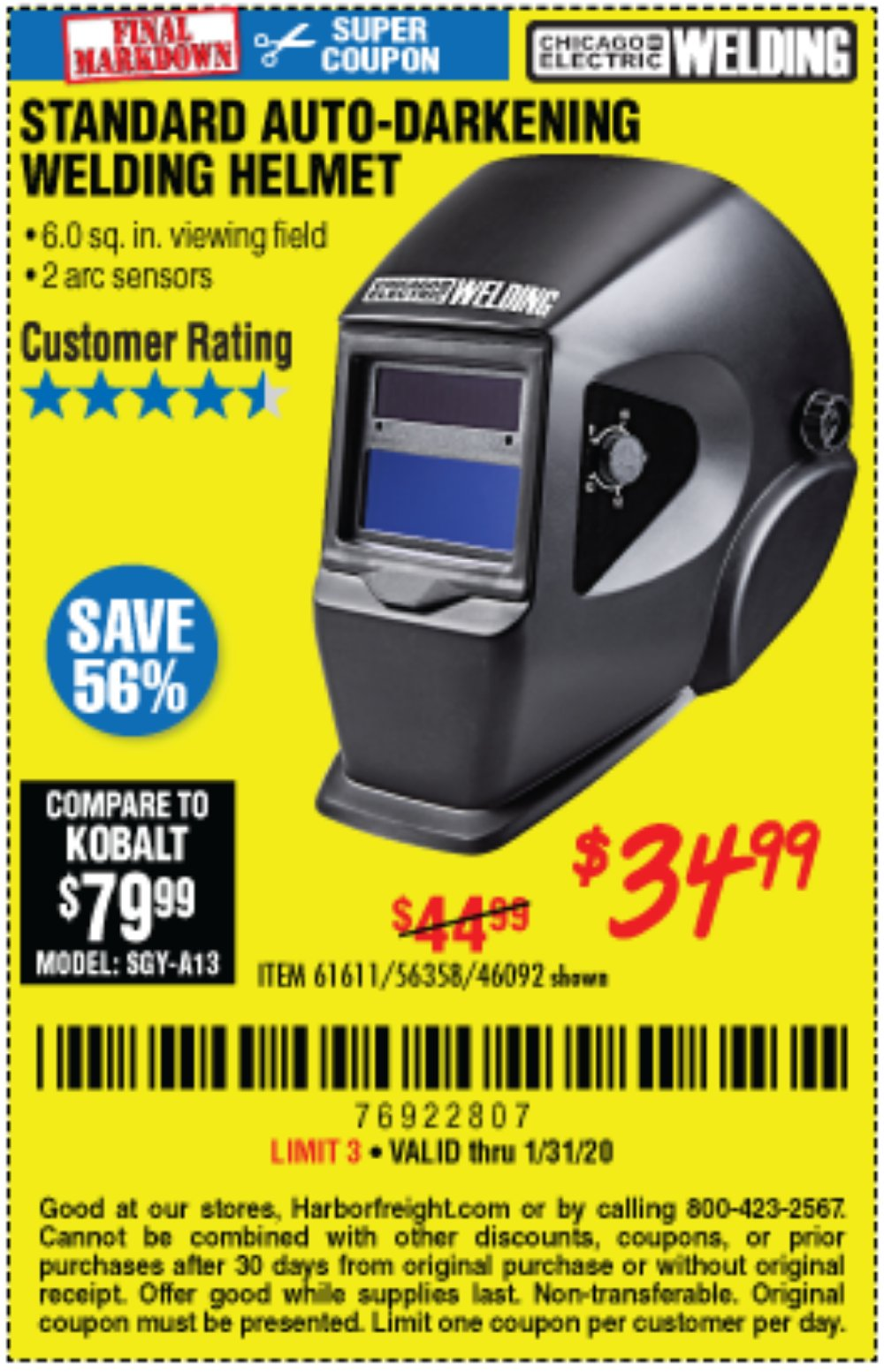 Harbor Freight Coupon, HF Coupons - Adjustable Shade Auto-darkening Welding Helmet