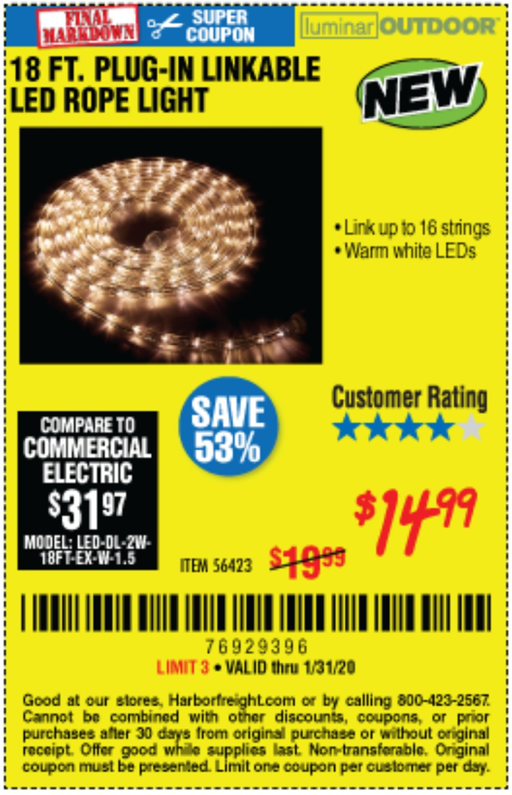 Harbor Freight Coupon, HF Coupons - Luminar Outdoor 18 Ft. Plug In Rope Light