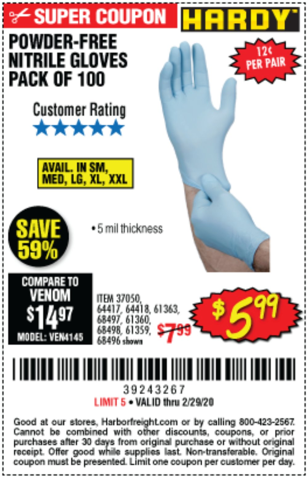 Harbor Freight Coupon, HF Coupons - Powder-free Nitrile Gloves Pack Of 100