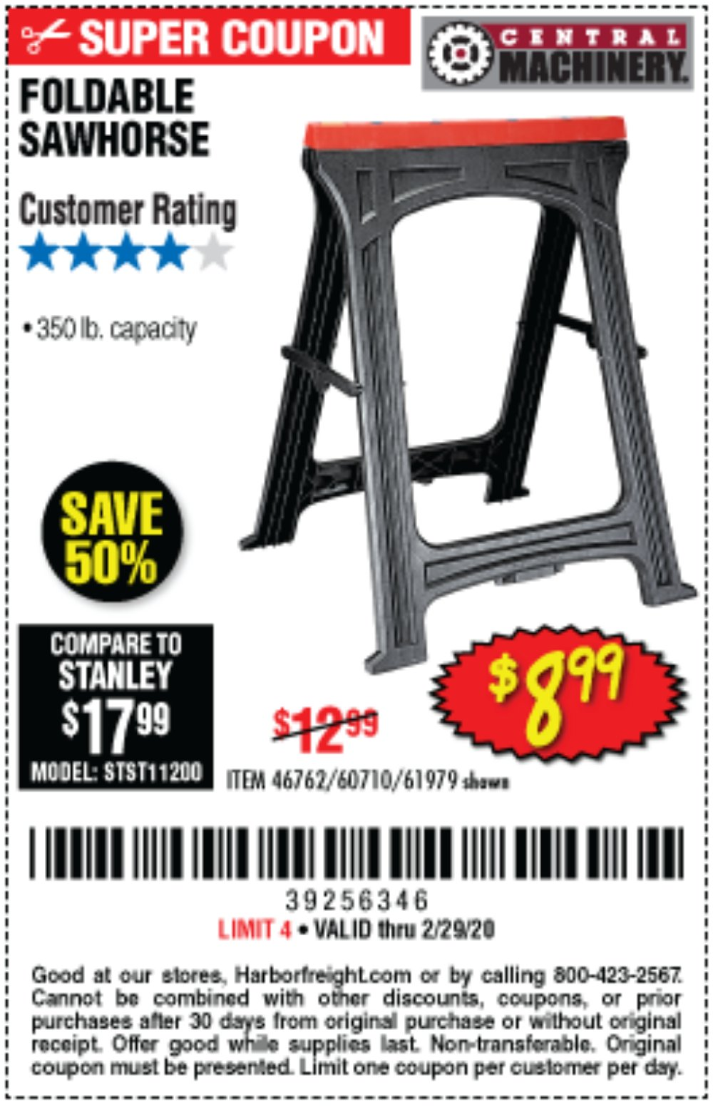 Harbor Freight Coupon, HF Coupons - 350 Lb. Capacity Folding Sawhorse