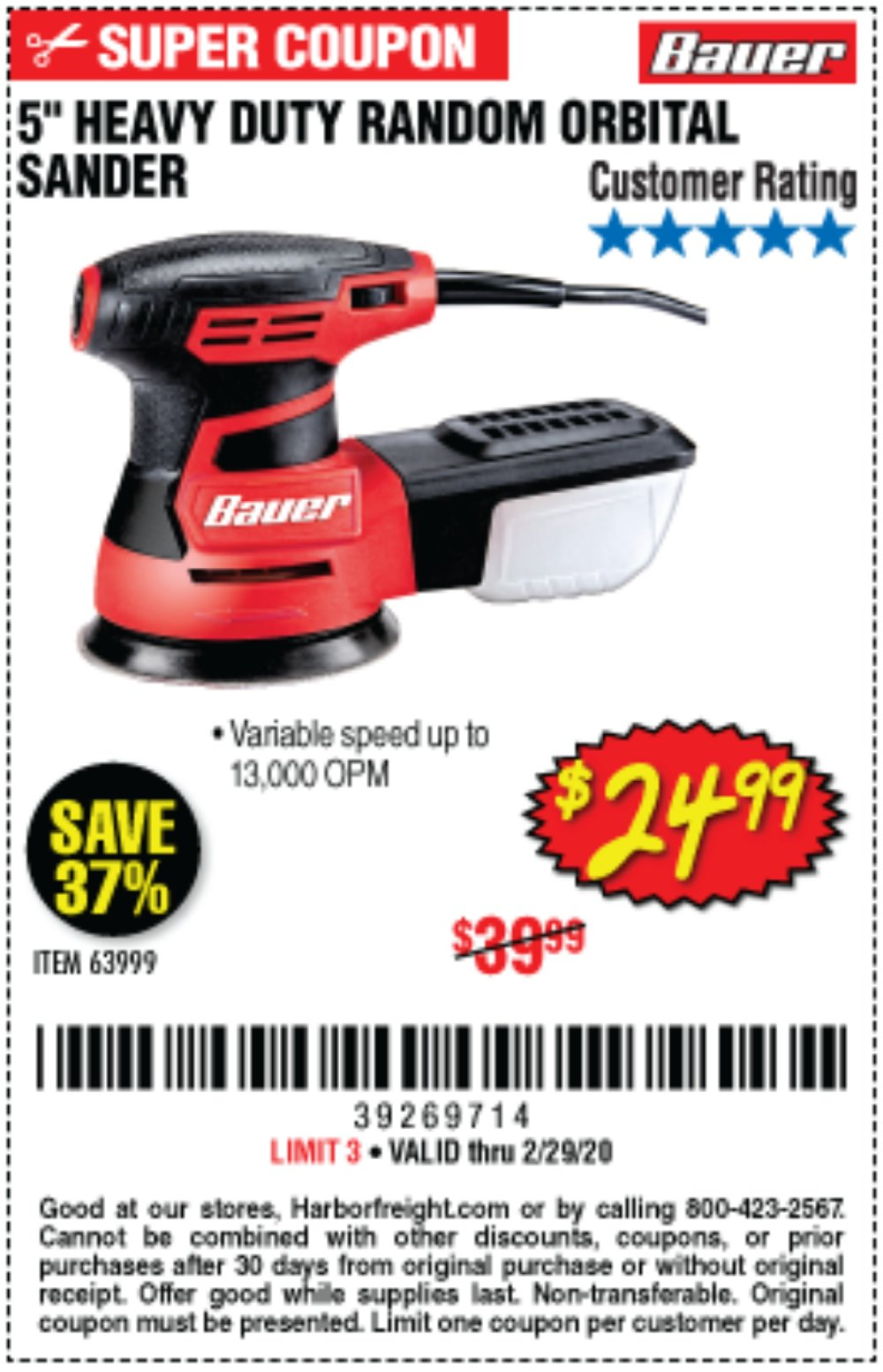 Harbor Freight Coupon, HF Coupons - Bauer 2.8 Amp 5
