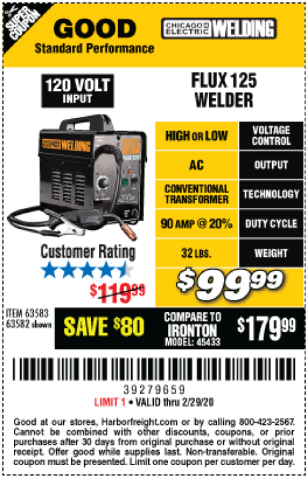 Harbor Freight Coupon, HF Coupons - 125 Amp Flux-core Welder