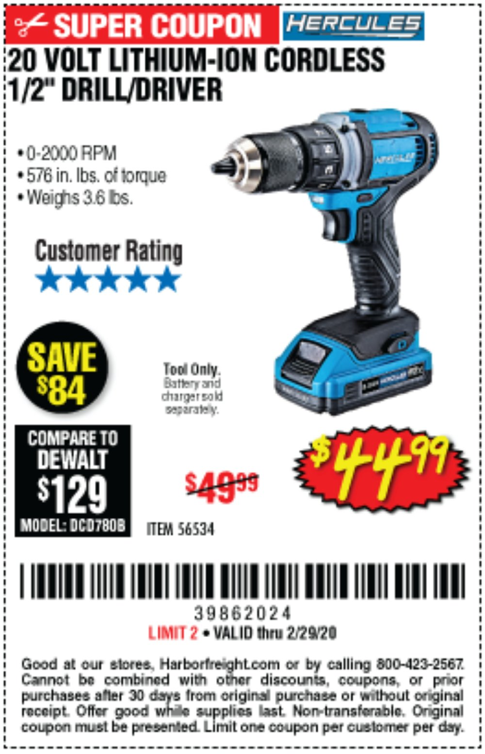 Harbor Freight Coupon, HF Coupons - Hercules 20 Volt Lithium-ion Cordless 1/2