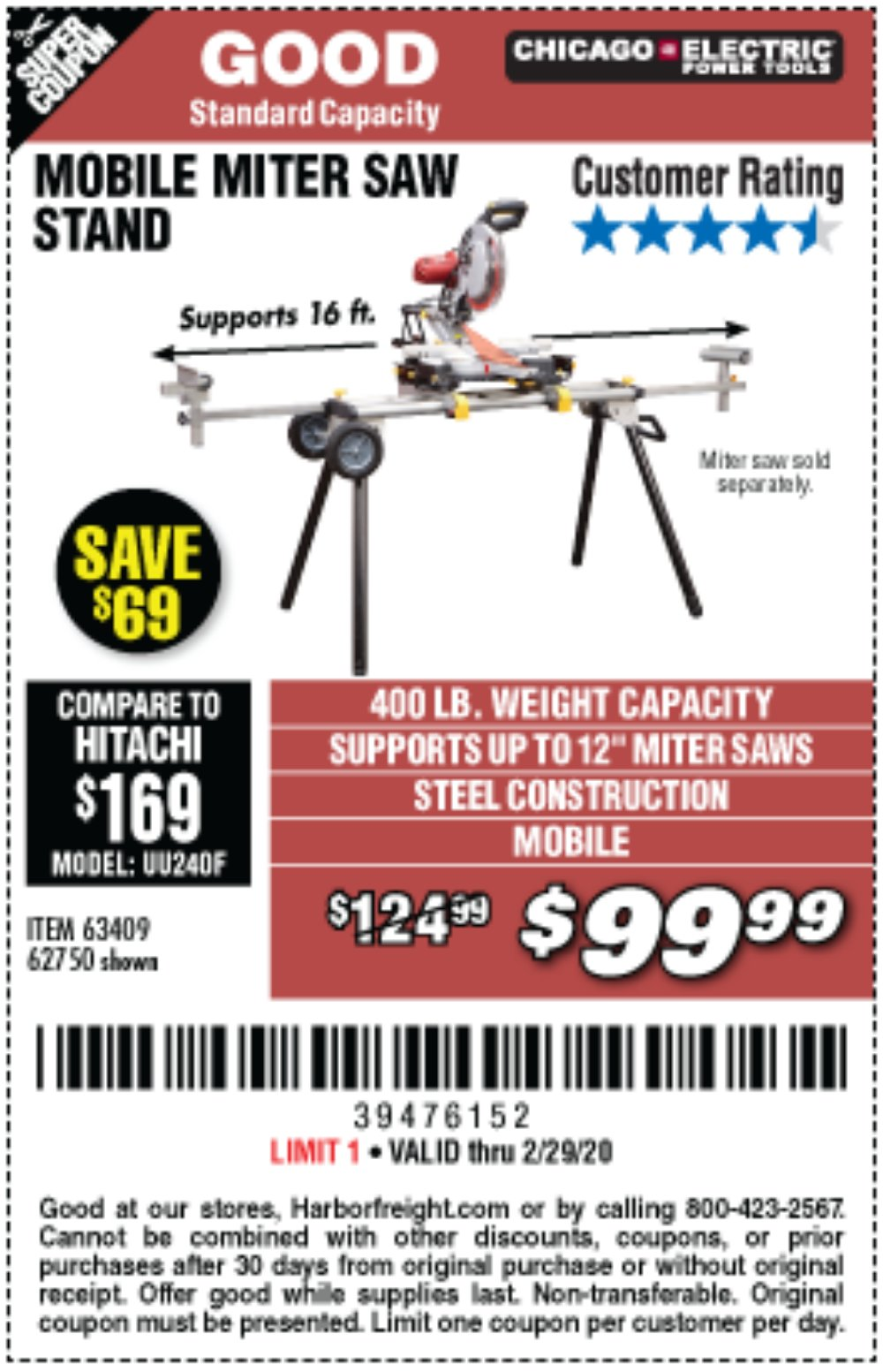 Harbor Freight Coupon, HF Coupons - Heavy Duty Mobile Miter Saw Stand