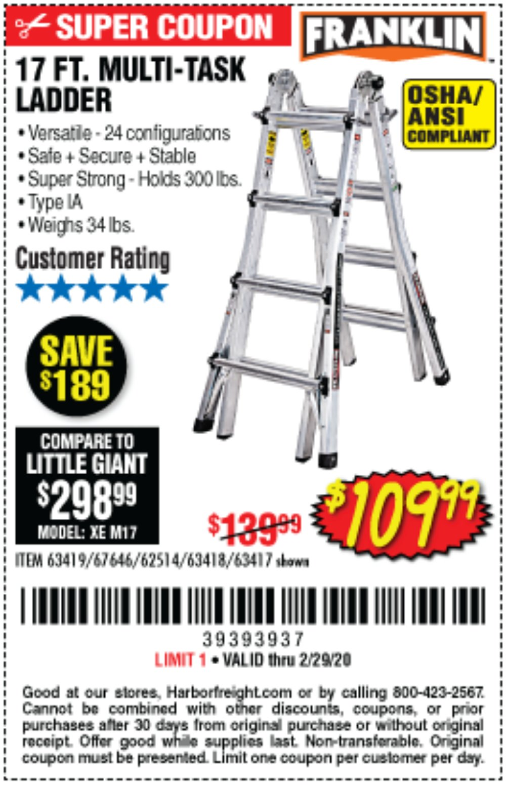 Harbor Freight Coupon, HF Coupons - 17 Foot Type Ia Muti Task Ladder