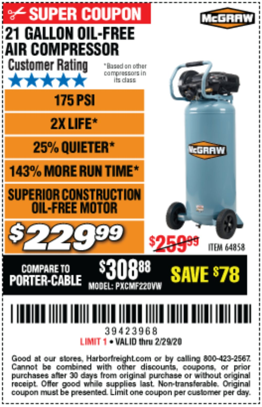 Harbor Freight Coupon, HF Coupons - Mcgraw 175 Psi, 21 Gallon Vertical Oil-free Air Compressor