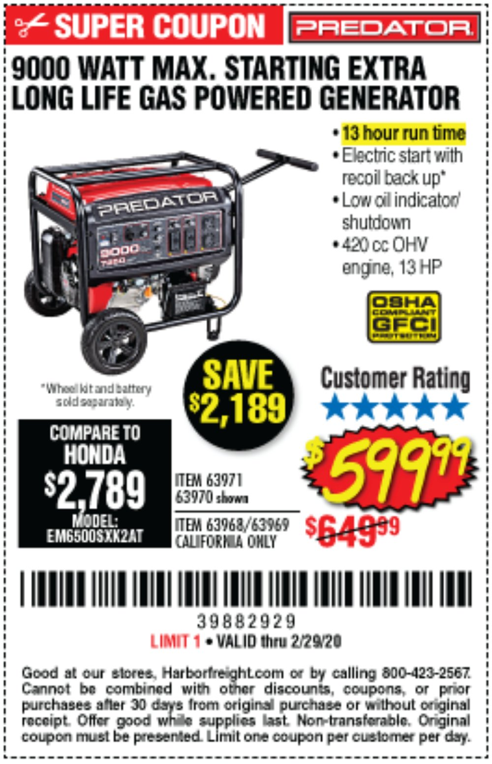 Harbor Freight Coupon, HF Coupons - 9000 Peak / 7250 Running Watts, 13 Hp (420 Cc) Gas Generator