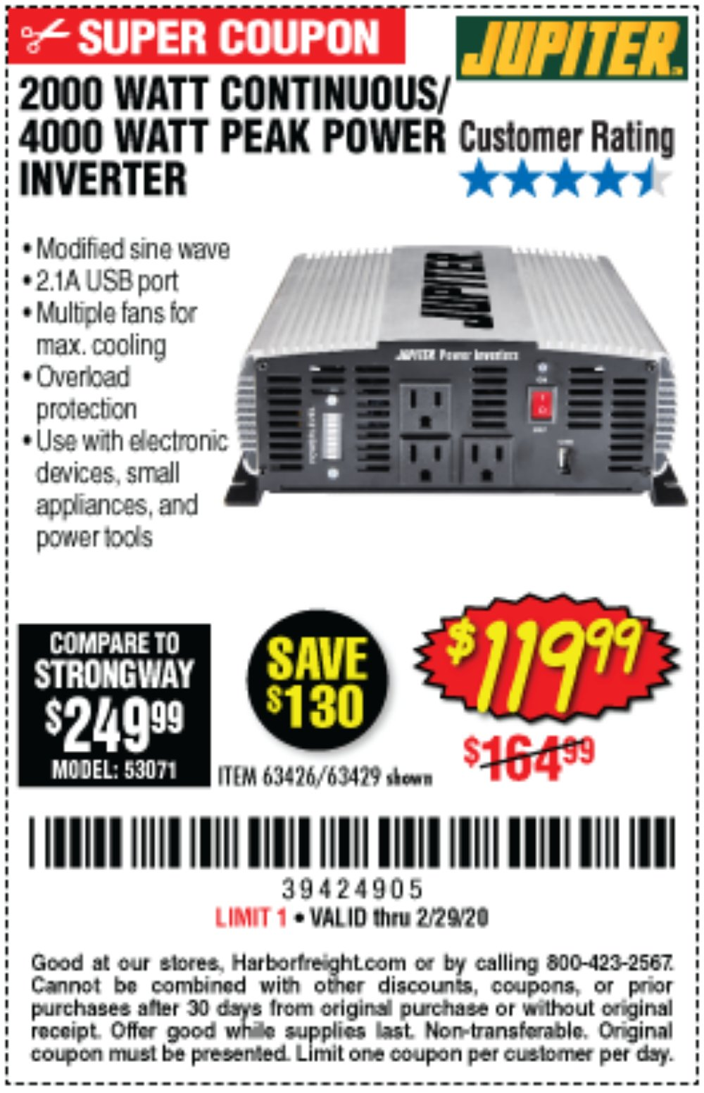 Harbor Freight Coupon, HF Coupons - 2000 Watt Continuous/4000 Watt Peak Power Inverter