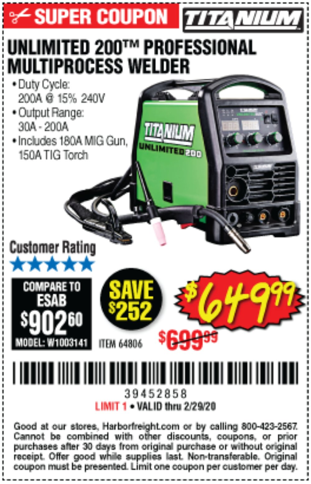 Harbor Freight Coupon, HF Coupons - Titanium Unlimited 200 Professional Multiprocess Welder