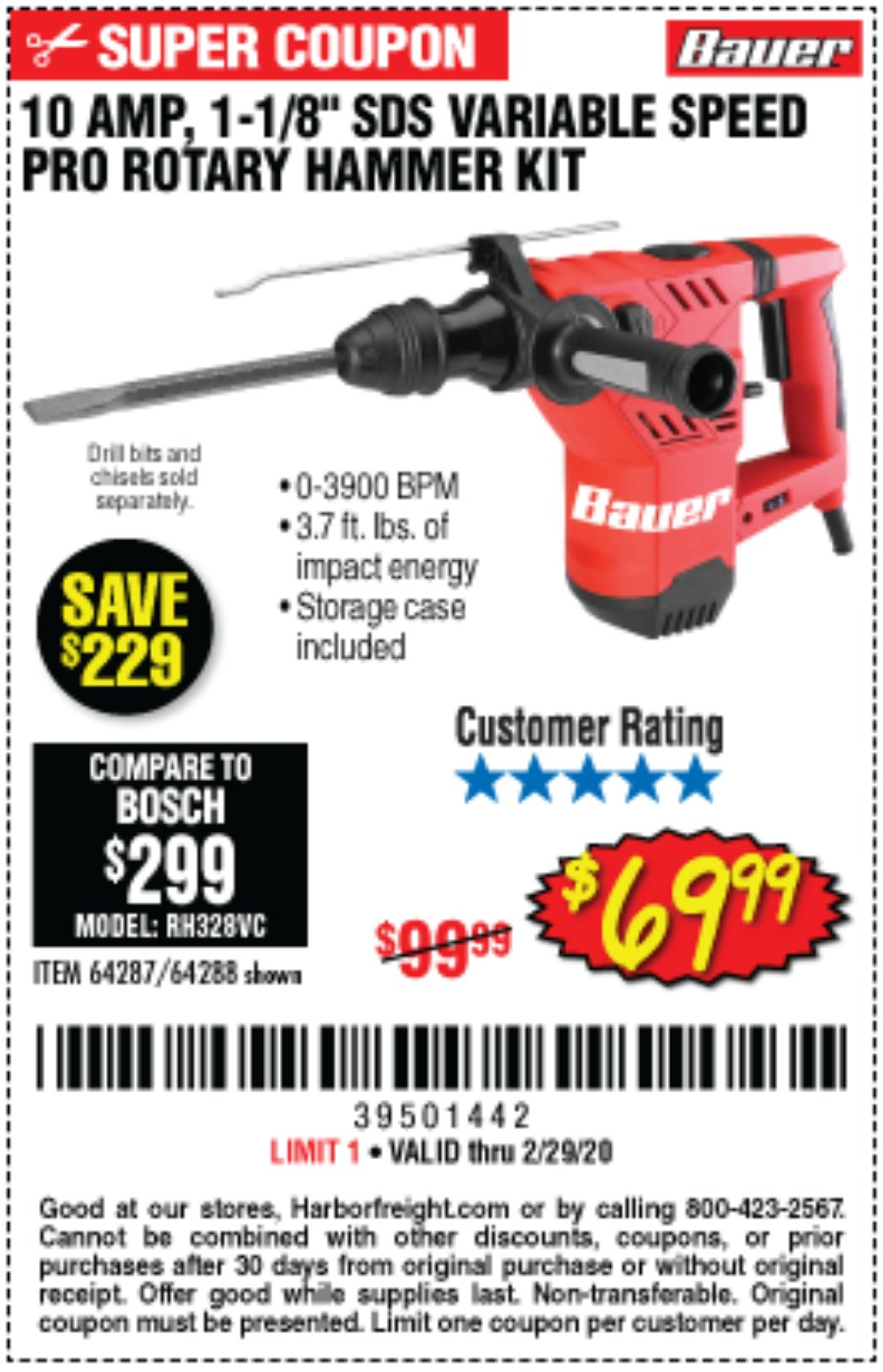 Harbor Freight Coupon, HF Coupons - Bauer 10 Amp, 1-1/8