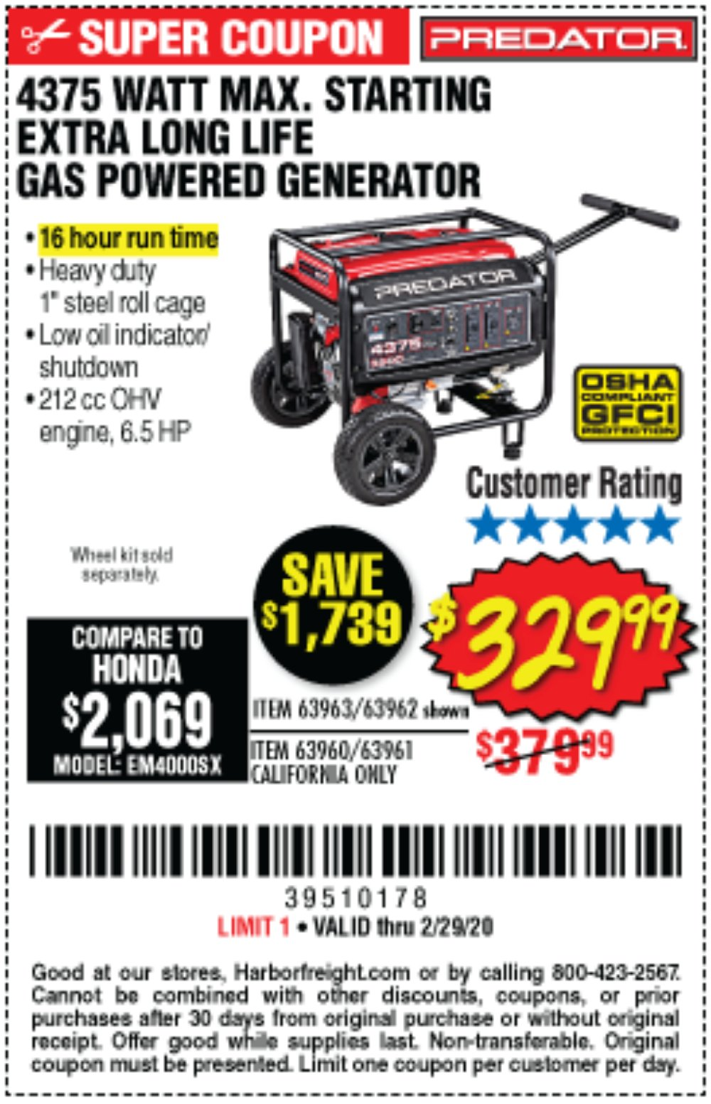 Harbor Freight Coupon, HF Coupons - 4375 Max Starting/3500 Running Watts, 6.5 Hp (212cc) Gas Generator