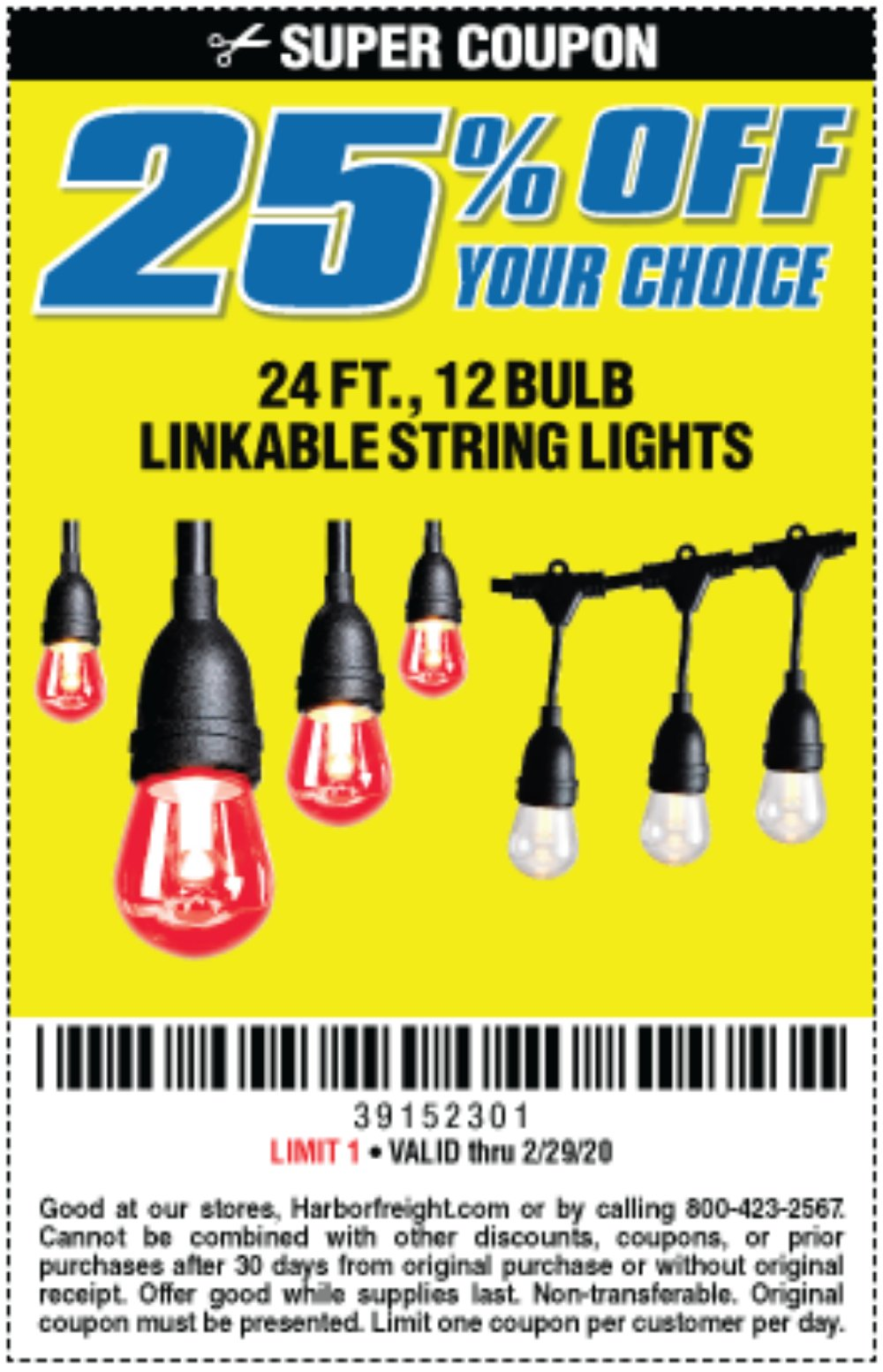 Harbor Freight Coupon, HF Coupons - 25 Percent Off String Lights