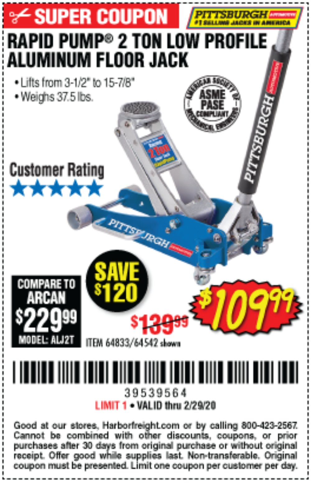 Harbor Freight Coupon, HF Coupons - Rapid Pump 2 Ton Low Profile Aluminum Floor Jack