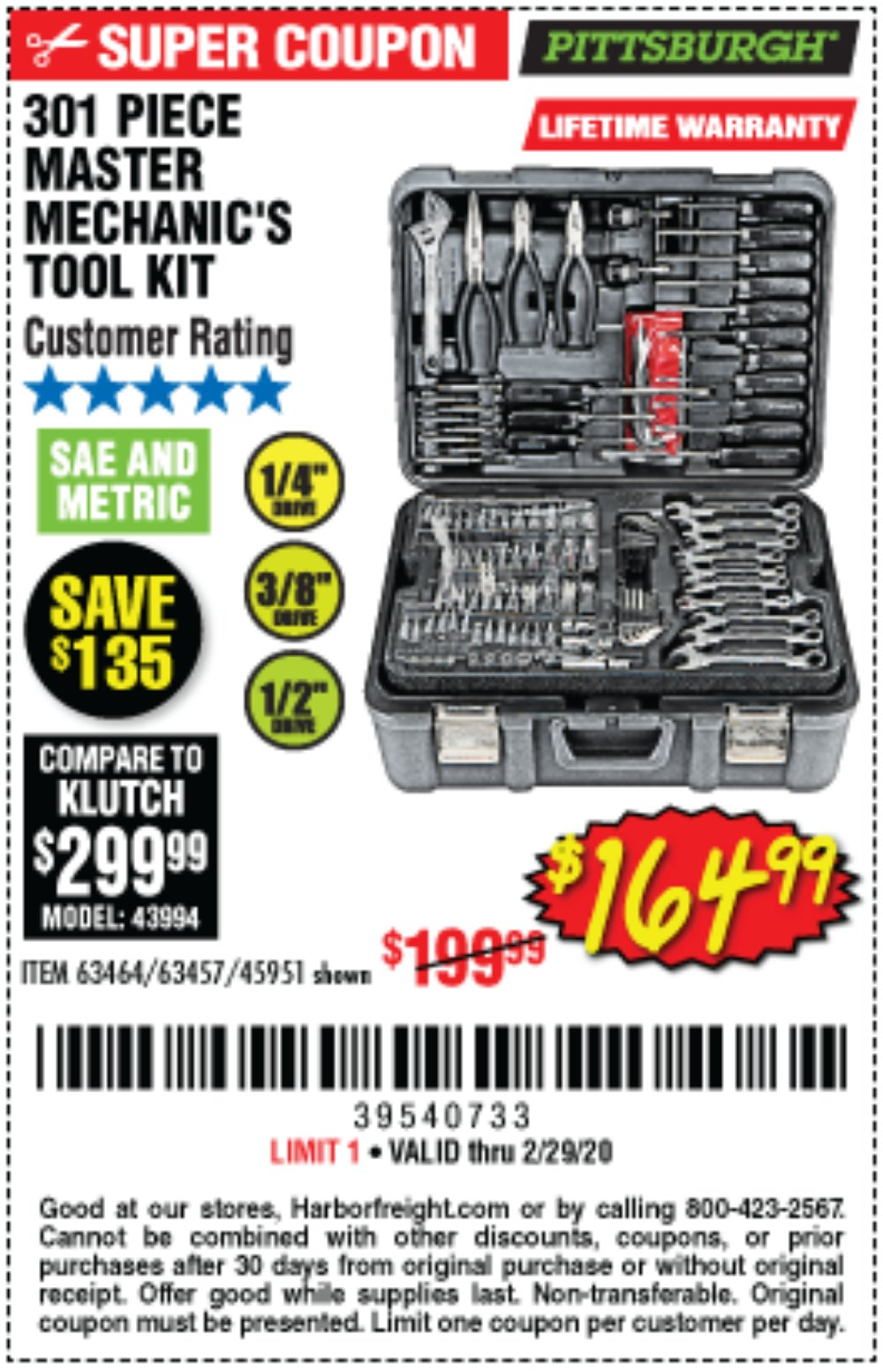 Harbor Freight Coupon, HF Coupons - 301 Piece Master Mechanic's Tool Kit