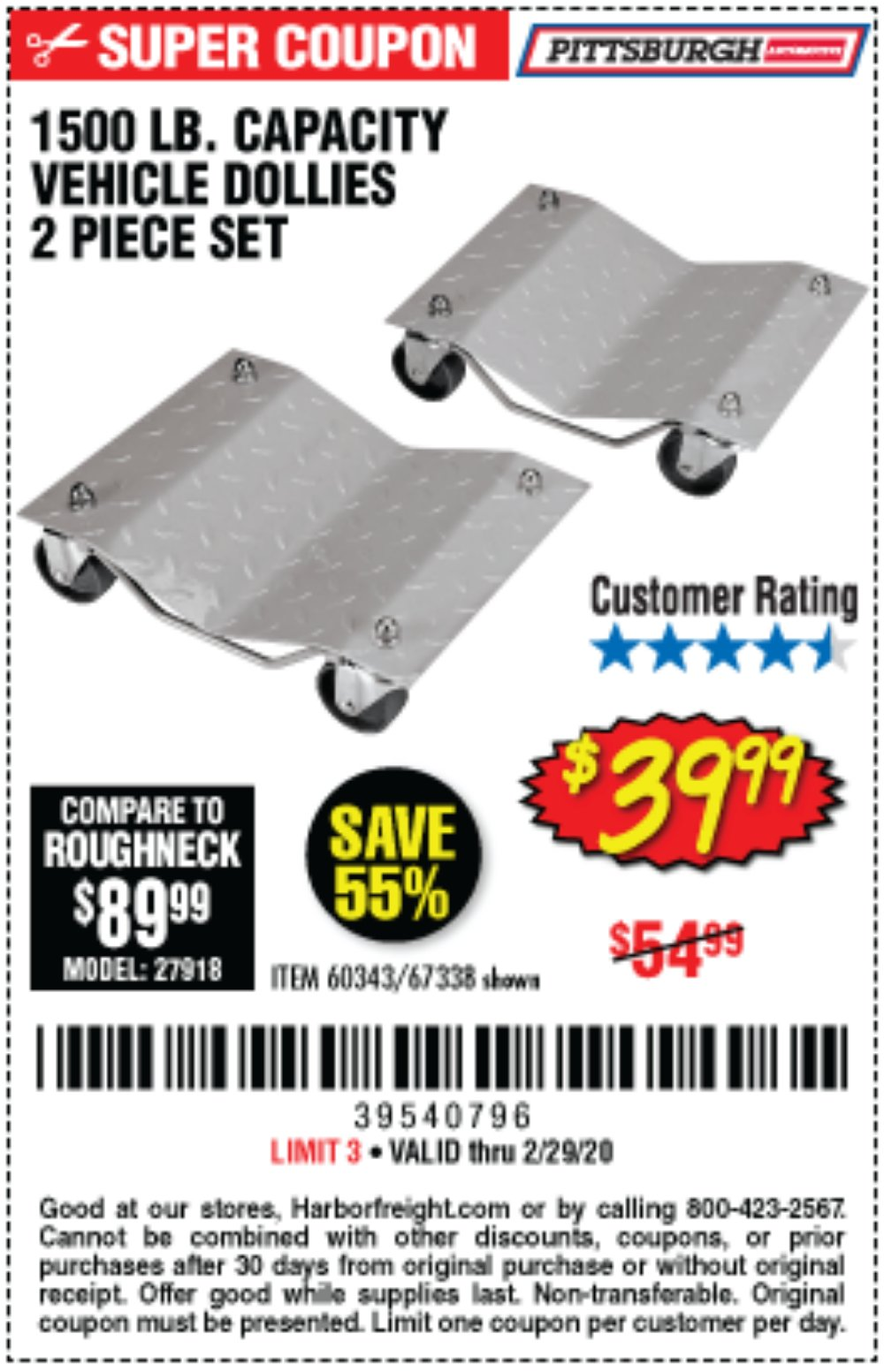Harbor Freight Coupon, HF Coupons - 2 Piece 1500 Lb. Capacity Vehicle Wheel Dollies