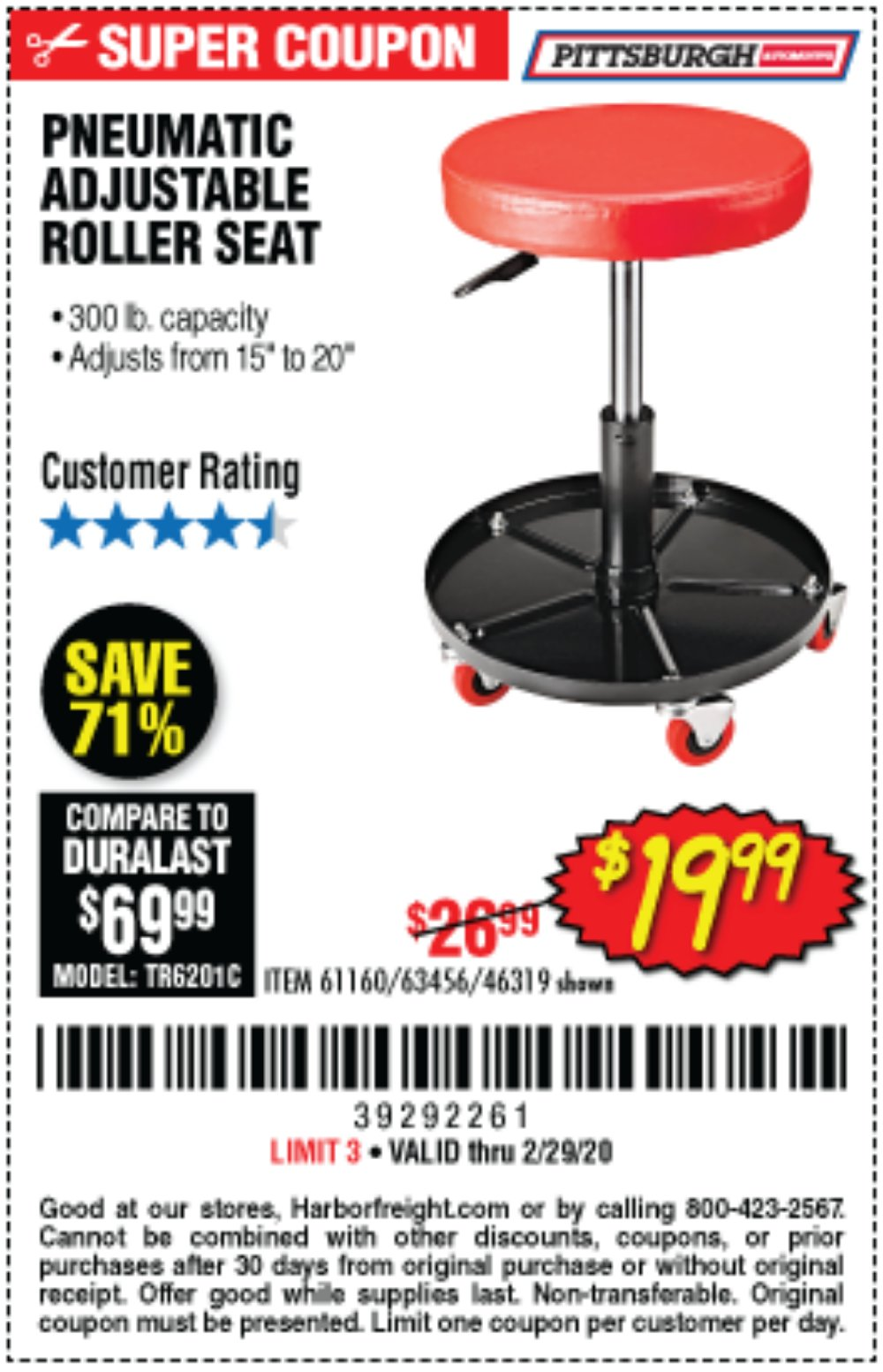 Harbor Freight Coupon, HF Coupons - Mechanic's Roller Seat, Pneumatic Adjustable Roller Seat