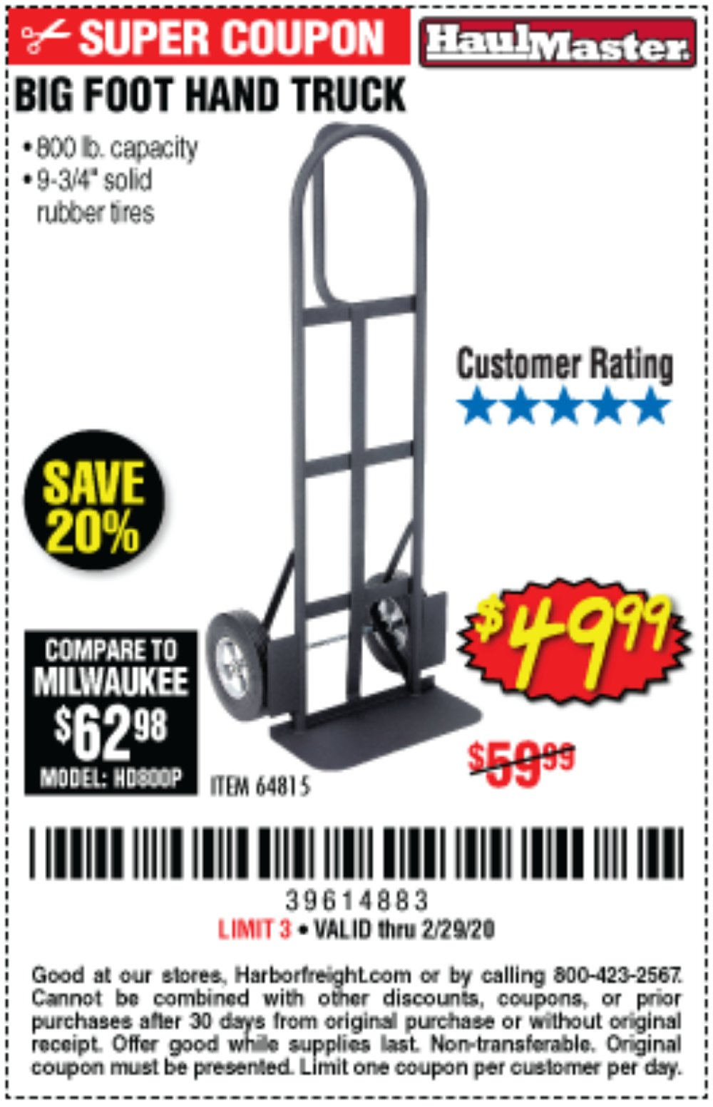 Harbor Freight Coupon, HF Coupons - 800 Lb. Capacity Big Foot Hand Truck