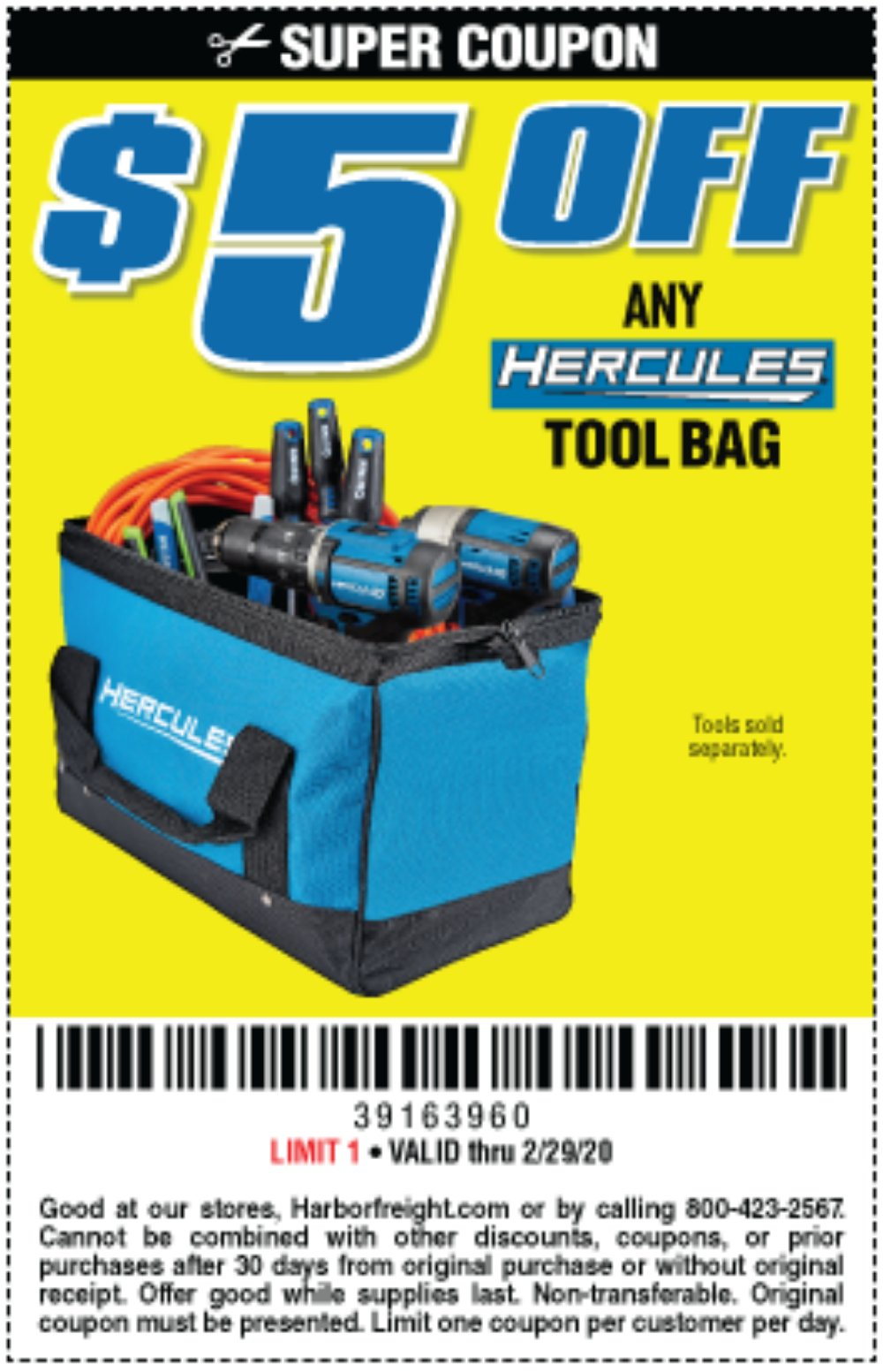 Harbor Freight Coupon, HF Coupons - $5 off any Hercules tool bag