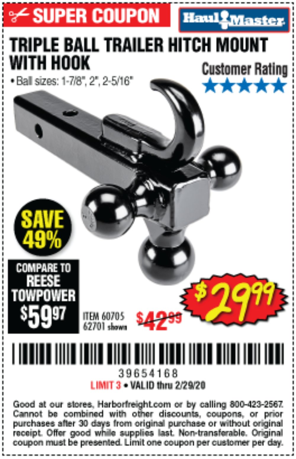 Harbor Freight Coupon, HF Coupons - Triple Ball Trailer Hitch Mount With Hook