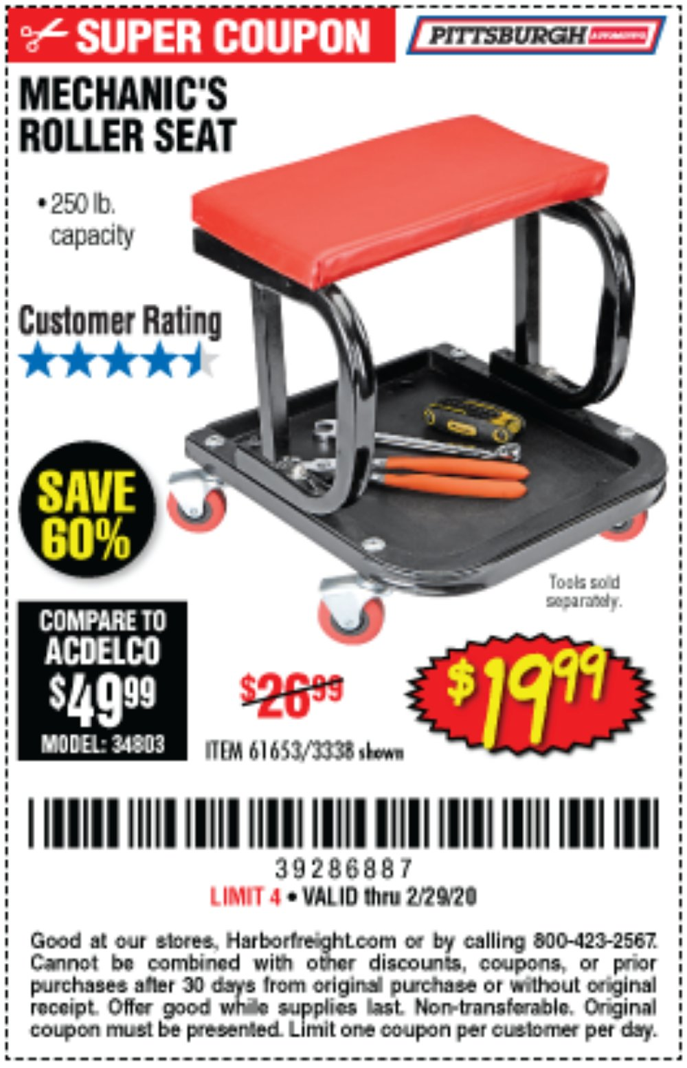 Harbor Freight Coupon, HF Coupons - Mechanic's Roller Seat