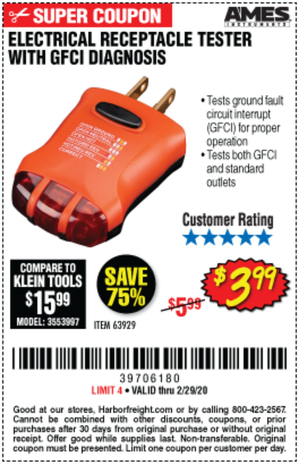 Harbor Freight Coupon, HF Coupons - Electrical Receptacle Tester With Gfci Diagnosis