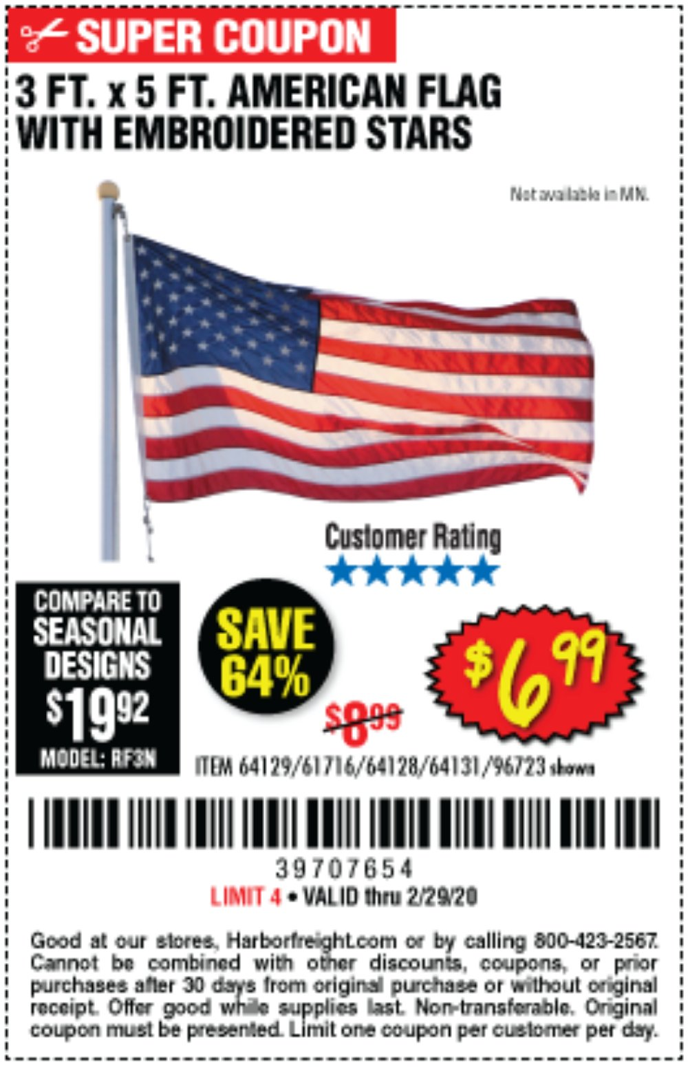 Harbor Freight Coupon, HF Coupons - 3 Ft. X 5 Ft. American Flag With Embroidered Stars