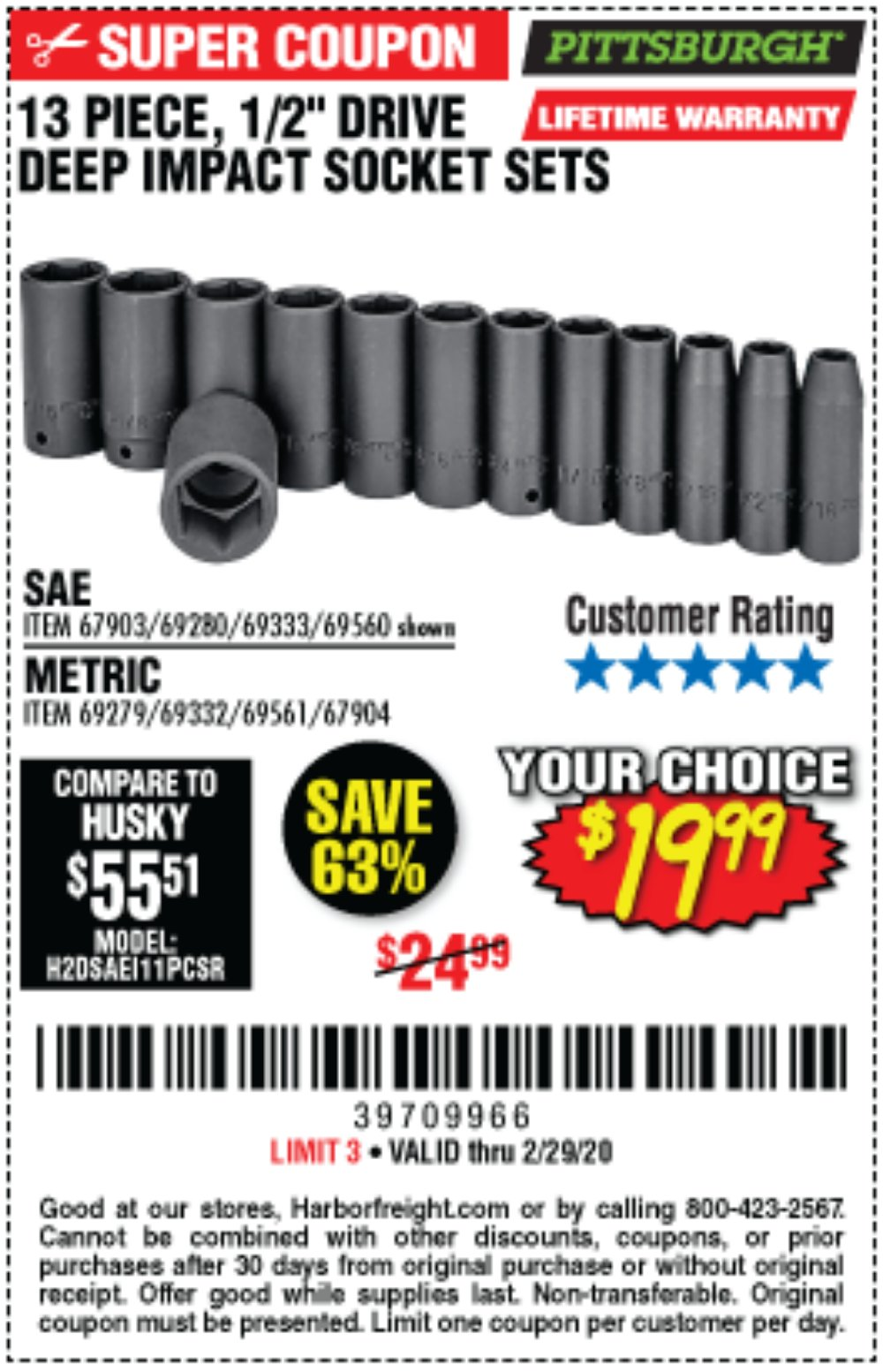 Harbor Freight Coupon, HF Coupons - 13 Pc. 1/2 In. Drive Impact Deep Socket Sets
