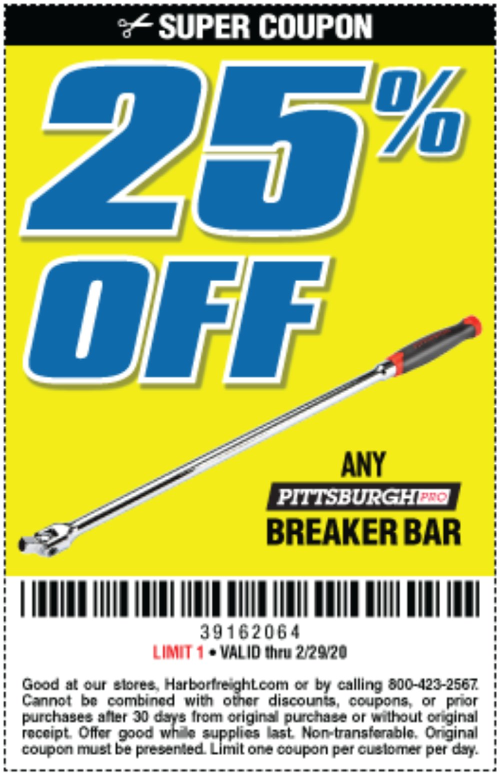 Harbor Freight Coupon, HF Coupons - 25% off any Pittsburgh breaker bar
