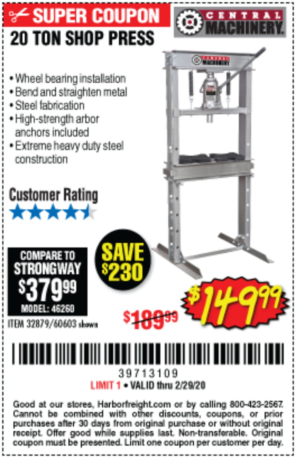Harbor Freight Coupon, HF Coupons - 20 Ton Shop Press