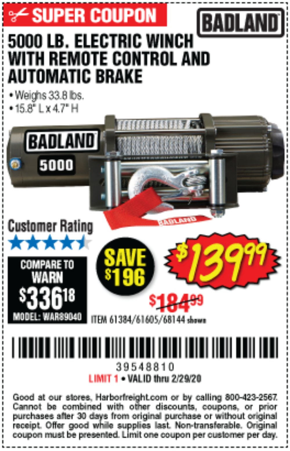 Harbor Freight Coupon, HF Coupons - 5000 Lb. Electric Winch With Remote Control And Automatic Brake