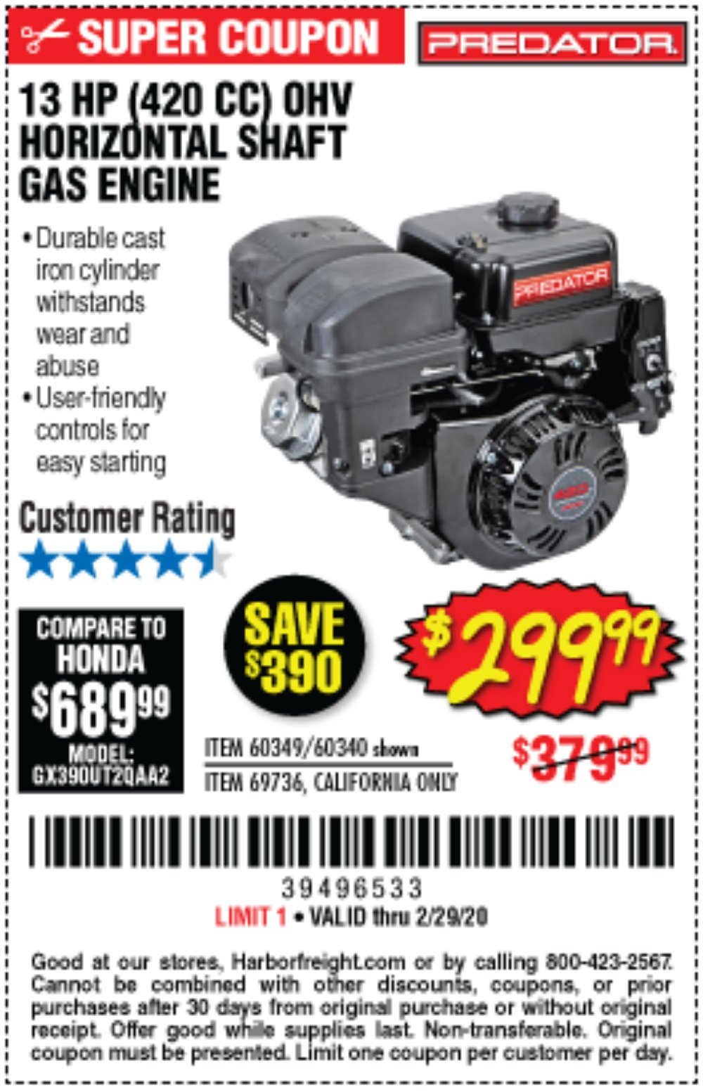 Harbor Freight Coupon, HF Coupons - 13 Hp (420 Cc) Ohv Horizontal Shaft Gas Engines