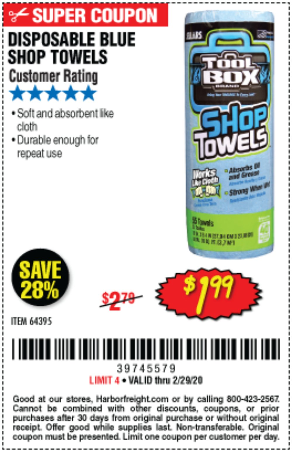 Harbor Freight Coupon, HF Coupons - Disposable Blue Shop Towels