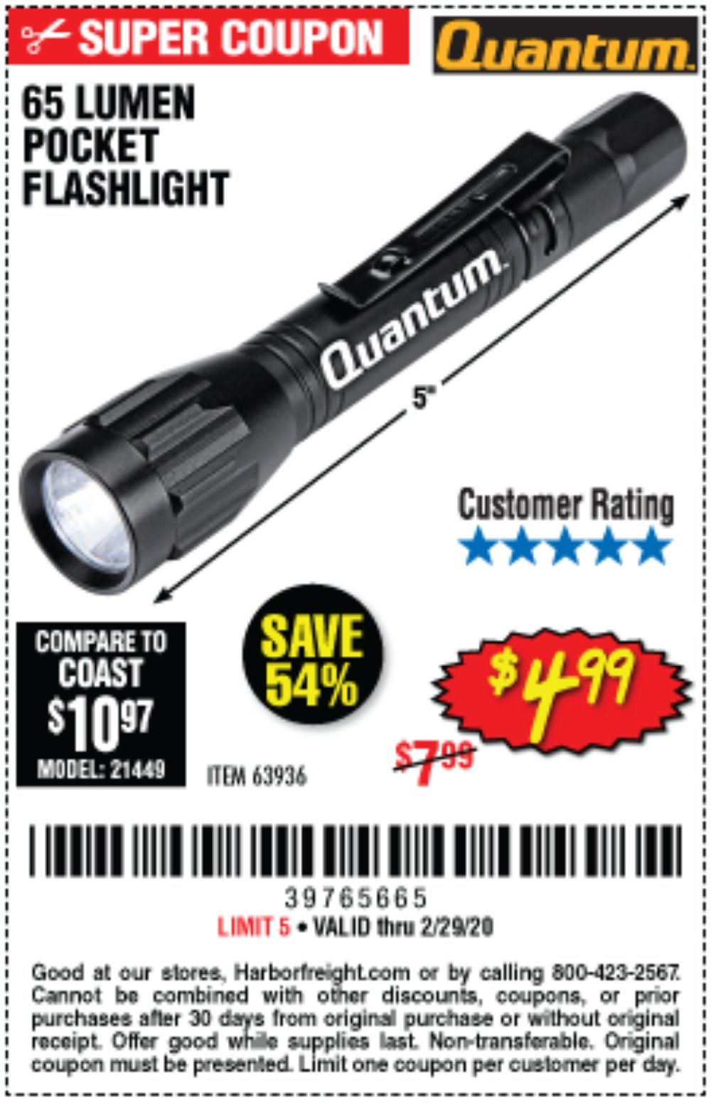Harbor Freight Coupon, HF Coupons - 65 Lumens Pocket Flashlight