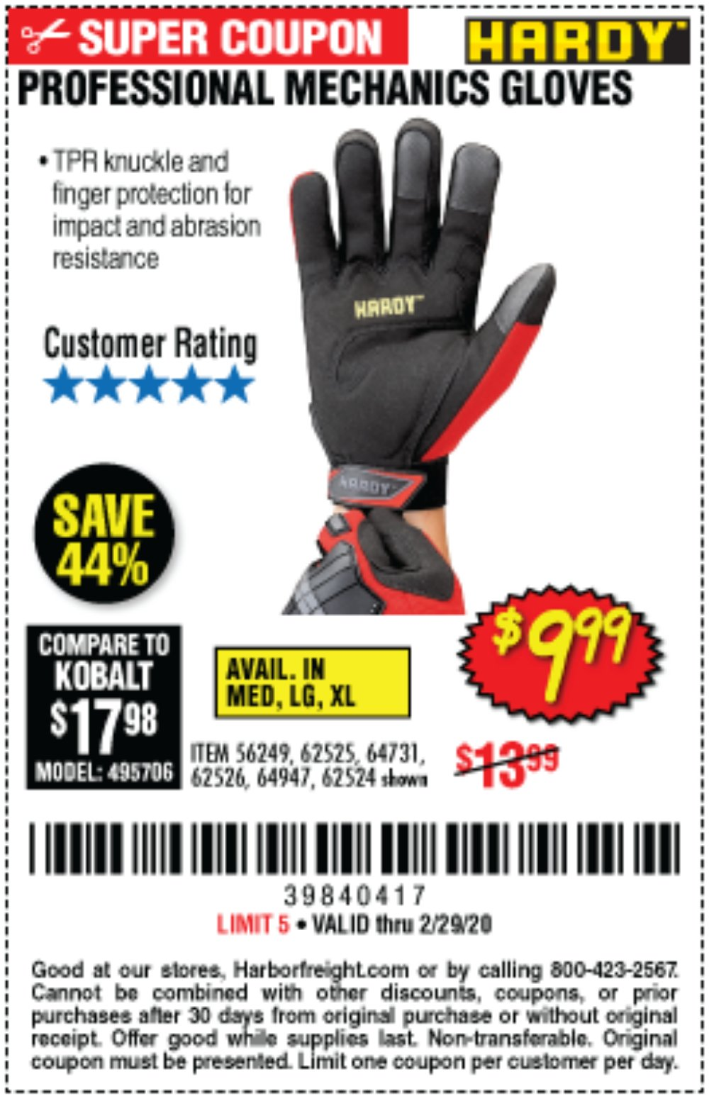 Harbor Freight Coupon, HF Coupons - Hardy Professional Mechanic's Gloves