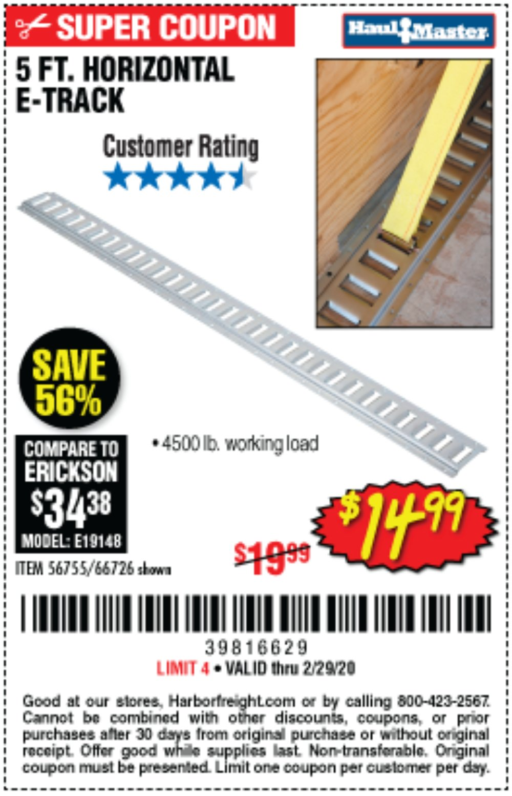 Harbor Freight Coupon, HF Coupons - 5 Ft Horizontal E-track
