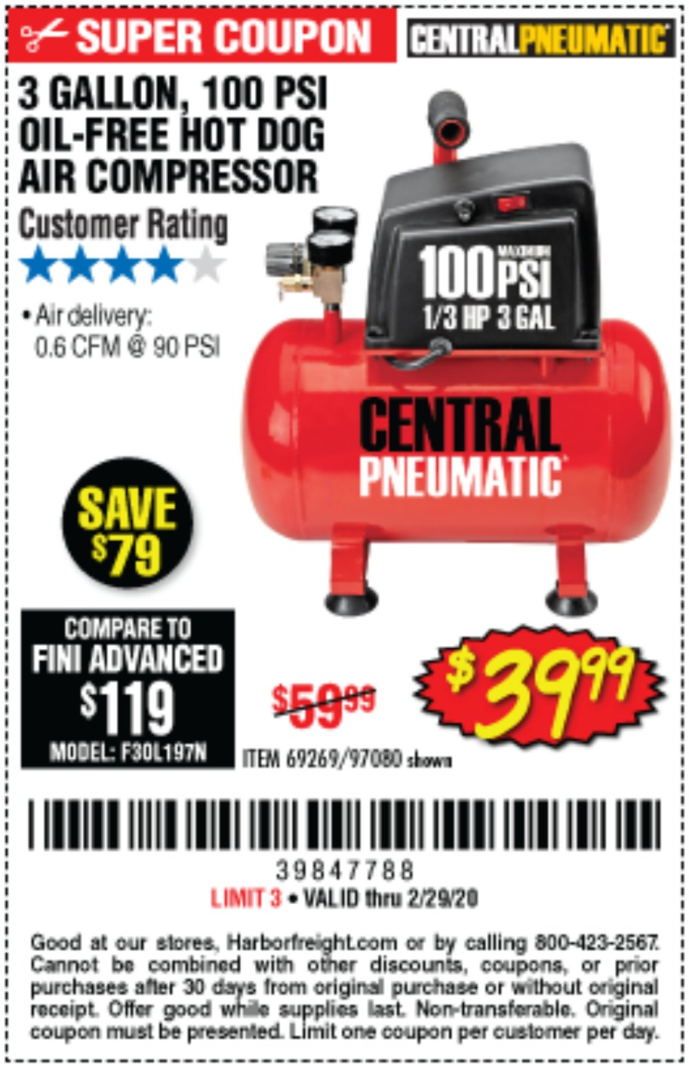 Harbor Freight Coupon, HF Coupons - 3 Gal. 1/3 Hp 100 Psi Oil-free Hotdog Air Compressor