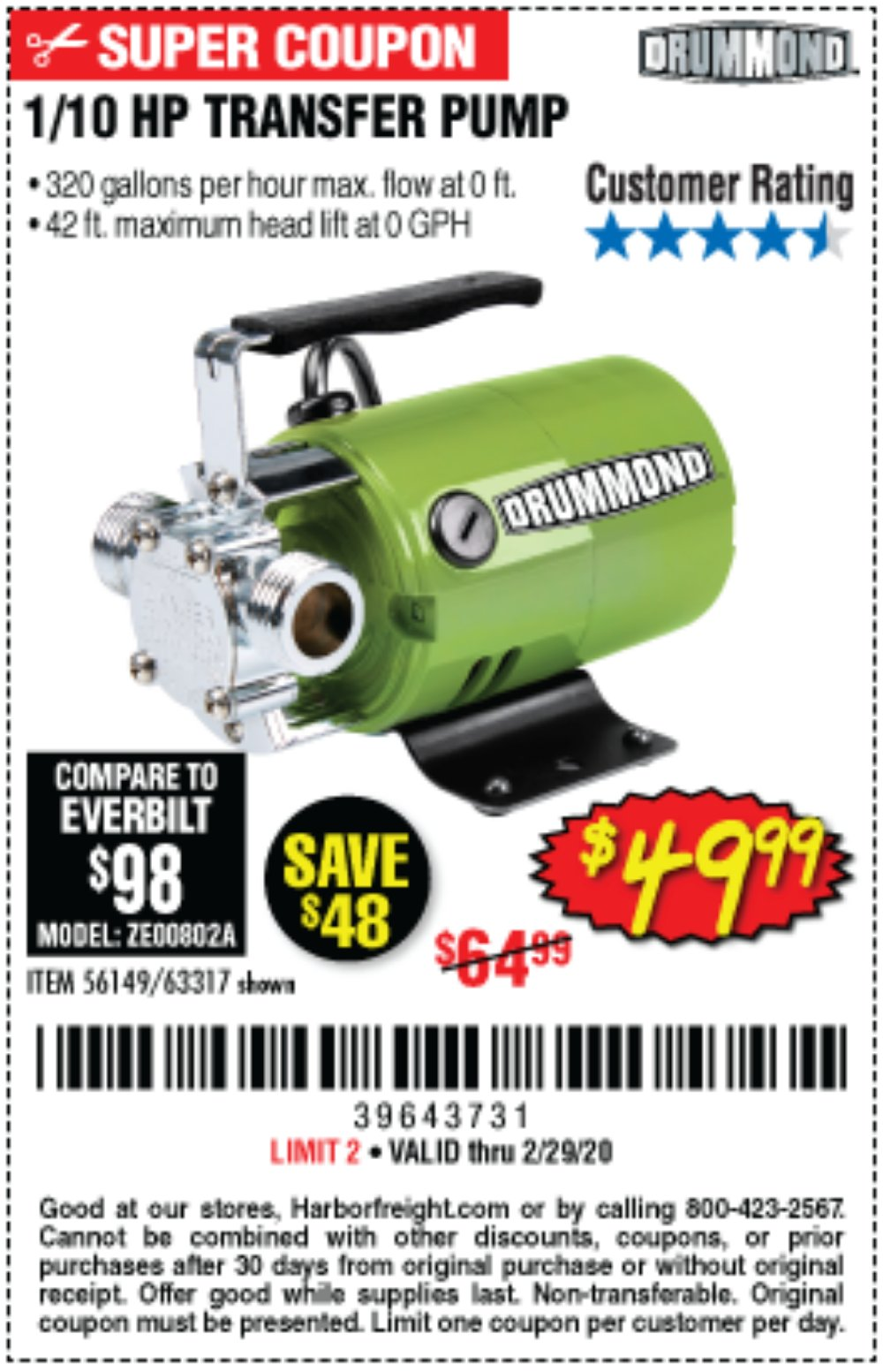Harbor Freight Coupon, HF Coupons - 1/10 Hp Transfer Pump
