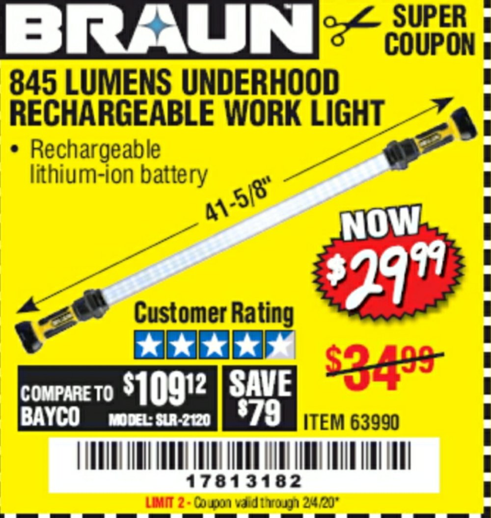 Harbor Freight Coupon, HF Coupons - 845 Lumen Underhood Rechargeable Work Light