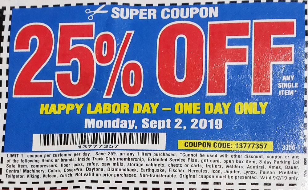 Harbor Freight Coupon, HF Coupons - labor day only 25%