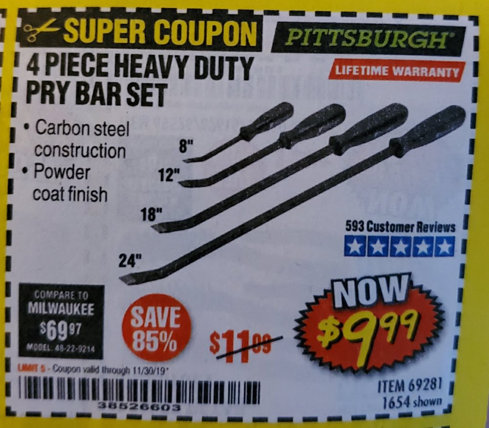 Harbor Freight Coupon, HF Coupons - 4 Piece Heavy Duty Pry Bar Set