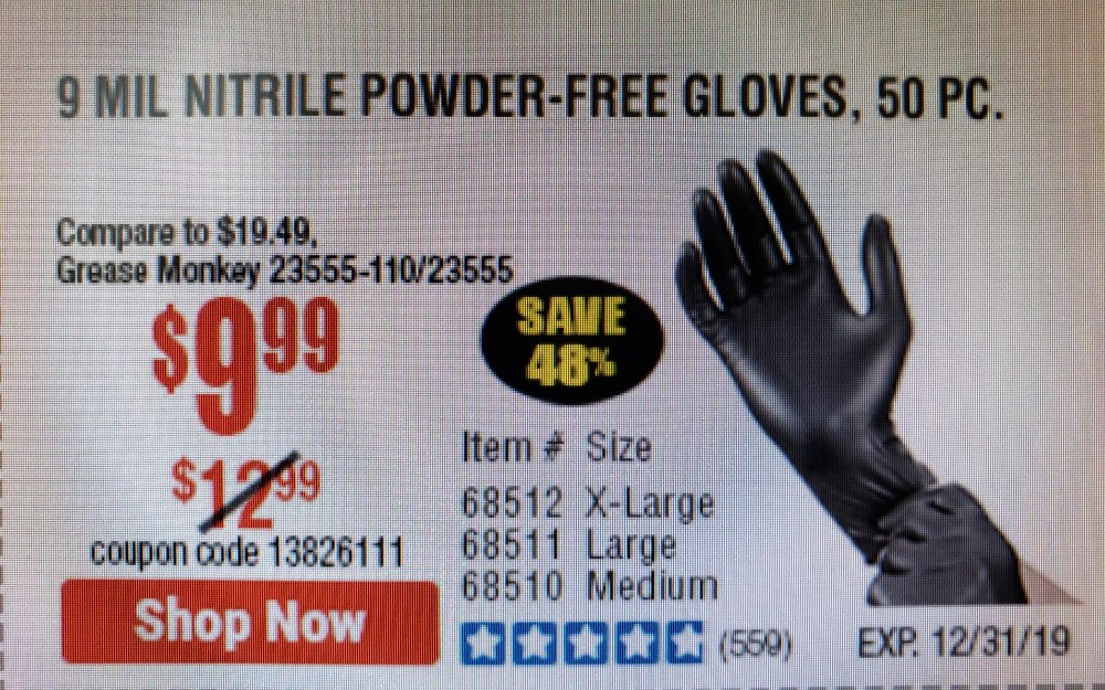 Harbor Freight Coupon, HF Coupons - Industrial Strength Powder-free Nitrile Gloves Pack Of 50