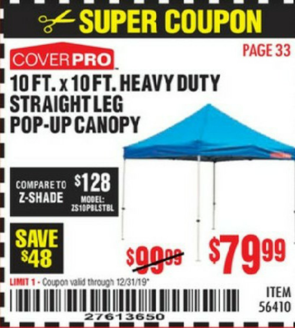 Harbor Freight Coupon, HF Coupons - 10ft.x10ft. Heavy Duty Straight Leg Pop-up Canopy