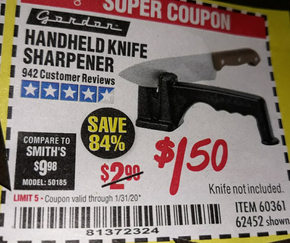 Harbor Freight Coupon, HF Coupons - Handheld Knife Sharpener