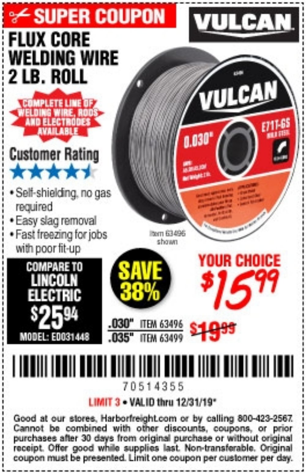 Harbor Freight Coupon, HF Coupons - Flux Core Welding Wire
