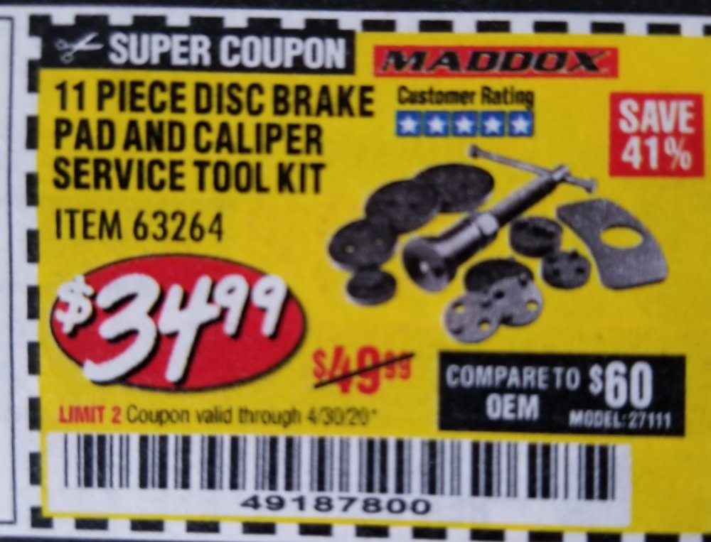 Harbor Freight Coupon, HF Coupons - 11 Piece Disc Brake Pad And Caliper Service Tool Kit