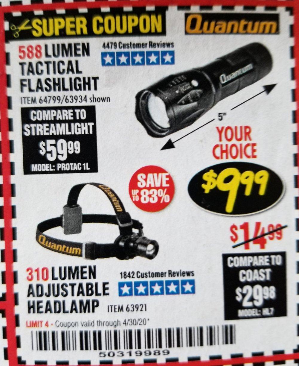 Harbor Freight Coupon, HF Coupons - 310 Lumen Adjustable Headlamp/588 Lumen Tactical Flashlight